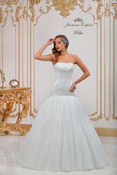 Almira wedding dress by Jasmine Empire wedding brand. Only Italian fabrics, natural pearls, SWAROVSKI stones Swarovski Stones, One Shoulder Wedding Dress, Wedding Dresses, Fabric, Jasmine, Empire, Beauty, Family Goals, Wedding Ideas