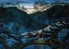 I Gusti Wiranata (b. 1970) Catching eels at dusk, Oil on Canvas, 135 x 90 cm On loan to the Museum Puri Lukisan, Ubud, Bali – Indonesia