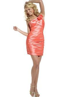 One Shoulder Sheath/ Column Sleeveless With Ruching Short Length Taffeta Party Dress - Angeldress.co.uk