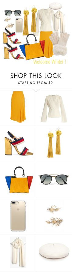 """""""Welcome Winter !"""" by sylviega ❤ liked on Polyvore featuring Victoria Beckham, Elizabeth and James, Gucci, Vanessa Mooney, Alice + Olivia, Ray-Ban, Speck, Brides & Hairpins, Madewell and New Directions"""
