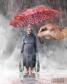 by Florynda del Sol ღ☀¨✿ ¸.ღ Lisa Aisato Hand Illustration, Cozy Rainy Day, Figurative Kunst, Dream Pictures, Umbrellas Parasols, Hand Art, Helping Hands, Book Art, Street Art