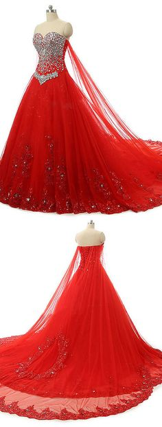 2016 wedding dress, red wedding dress, tulle wedding dress, chapel train wedding…