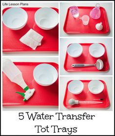 5 water transfer tot trays, each featuring a unique fine motor skill for kids to practice from Life Lesson Plans
