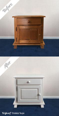 Met Moodpaints Krijtverf kun je oude kastjes weer een nieuw leven geven! Zie hier de prachtige #before&after foto, met Moodpaints Krijtverf Timeless Taupe.