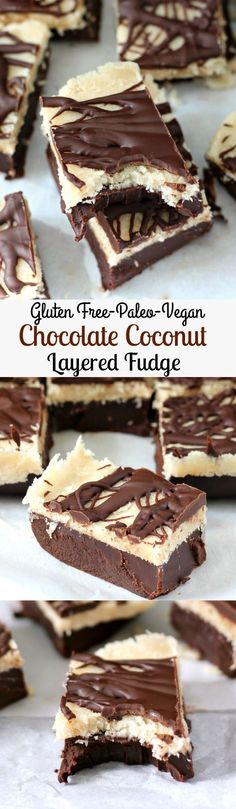 Layered Chocolate and Coconut Fudge that's no bake, gluten free, Paleo, dairy free, and Vegan. Rich, creamy and indulgent without the junk! - Repined by: http://barvivo.com/