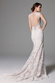 Main Image - Watters 'Ashland' Illusion Lace Mermaid Dress (In Stores Only) Wedding Dress Backs, Amazing Wedding Dress, Classic Wedding Dress, Wedding Dress Sizes, Bridal Wedding Dresses, Designer Wedding Dresses, Wedding Bride, Blush Bridal, Wedding Ideas