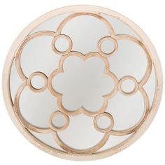 Floral Wood Wall Mirror Distressed White Finish Bedroom Hallway Bathroom Vanity #NeedfulThings #Rustic