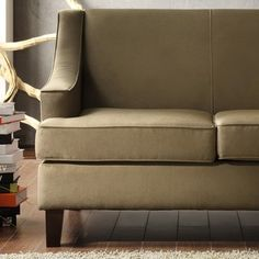 @Overstock - li>Materials: Microfiber, wood   Finish: Cherry  Upholstery materials: Microfiber  Upholstery color: Cream  http://www.overstock.com/Home-Garden/Winslow-Taupe-Loveseat/6223590/product.html?CID=214117 $444.99