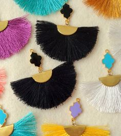 Set of 2 handmade silk tassels with golden tone caps and black flower enamel pendants Color -Black length inches ----------------- Qty you receive tassels Ship time -Europe - days USA days Australia days Diy Jewelry Supplies, 10 Days, Tassel Necklace, Tassels, Color Black, Enamel, Jewelry Making, Europe, Pendants