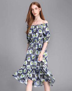 #AdoreWe #VIPme Swing Dresses - luxlead Floral Off Shoulder Fit & Flare  Midi Dress