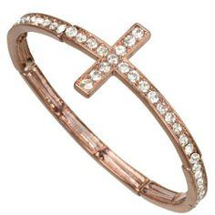 Heirloom Finds Trendy Chocolate Tone Crystal Bling Sideways Cross Stretch Bracelet