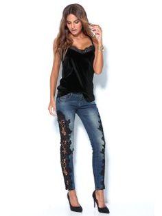 Pantalón vaquero de mujer con guipur en los costados Jeans Store, Game, Denim, Blouse, Casual, Sweaters, Pants, Dresses, Fashion