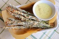 Baked Parmesan Asparagus with Lemon-Garlic Aioli