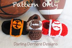 Sports Straps Baby Boy Bootie Crochet PATTERN: For Baseball, Basketball, and Football. $4.49, via Etsy.