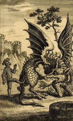 magictransistor: John June, The Dragon of Wantley, c. 1744 Player: The spikes give me extra damage in unarmed combat, and if the dragon tries to eat me all the spikes automatically hit its unarmored insides.Dragon: WutNPCs in castle: Huzzah Dragon Medieval, Medieval Art, Fantasy Kunst, Fantasy Art, Dark Fantasy, Art Sketches, Art Drawings, Dragons, Occult Art