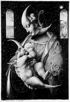 Dimitry Vorsin● LL. c'est folie que de fouler la lune Fantasy Kunst, Fantasy Art, Illustrations, Illustration Art, Art Amour, Sun Moon Stars, Moon Goddess, Over The Moon, Moon Art