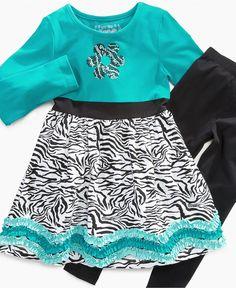 Flapdoodles Kids Set, Little Girls Zebra-Print Dress and Leggings - Kids Girls 2-6X - Macy's