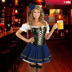 Adult German Costume Corset Oktoberfest Maid Outfit