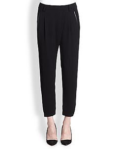 Vince Leather-Trimmed Crossover-Front Pants