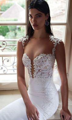 Berta bridal 2015 elegant sheath wedding dress deep v-neckline exquisite bodice detail close up