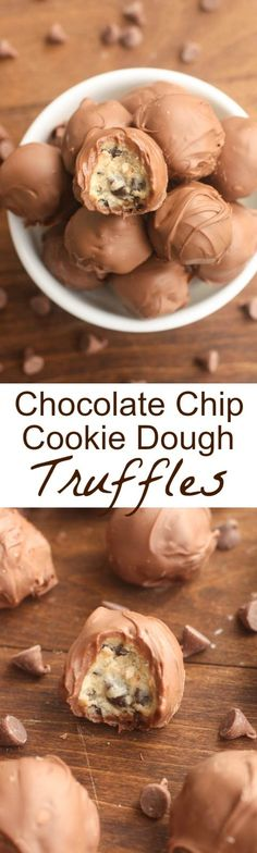 Chocolate Chip Cookie Dough Truffles Recipe via Tastes Better From Scratch - A simple egg-free cookie dough dipped in melted chocolate! These bite-size treats are easy and delicious! The BEST Bite Size Dessert Recipes - Mini, Individual, Yummy Treats, Per Dessert Party, Party Desserts, Mini Desserts, Dessert Tables, Individual Desserts, Plated Desserts, Oreo Desserts, Wedding Desserts, Sweet Desserts