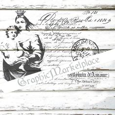 French Madonna Postcard Transfer Instant Download Burlap digital collage sheet graphic printable No. 1400