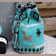 Mochila buideltasje Tapestry Bag, Tapestry Crochet, Knitting, Handmade, Backpack, Turquoise, Patterns, Bags, Basket