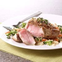 Lemon Pepper Tuna Good-for-your-heart tuna and whole wheat couscous will fill you up in this 20-minute dish. A savory-sweet combo of sauces punches up the flavor of the basic tuna steak.