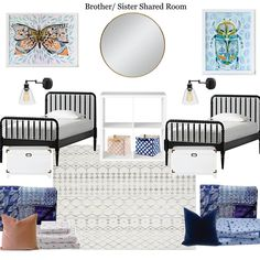 A little late, but sharing my kids' brother/sister shared room #moodboard on the blog tonight. #moodboardmonday #kidsroom #sharedroom