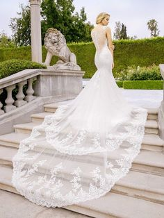 Lace and sheer wedding wedding Moonlight Couture H1349 #LongTrain #LaceWeddingDress #WeddingPlanning