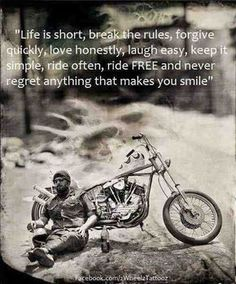 ride on forever motor bikes quotes and sayings Triumph Motorcycles, Harley Davidson Motorcycles, Harley Bikes, Custom Motorcycles, Your Smile, Make You Smile, Easy Rider, Bike Quotes, Motto Quotes