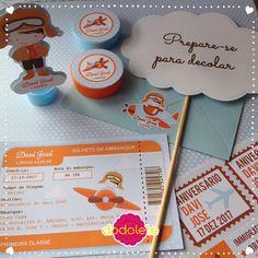 Kit Aviador Laranja Convite, placa divertidas, latinha, tubete 3D, selos e lacre. Fazemos mais de 100 itens personalizados.