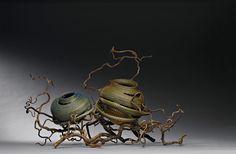 Basketry, Debora Muhl, Artist, Duet, 2005; sweetgrass, gourds, ribbon, waxed linen, beads, branches; 18 x 30 x 19 in.