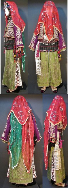 A traditional bridal costume from the Karakeçeli (Yörük) villages of the Keles district (south of Bursa).  Late-Ottoman urban style, with 'goldwork' (silvery metal thread) embroidered robe & vest, ca. mid-20th century.  (Kavak Costume Collection - Antwerpen/Belgium).