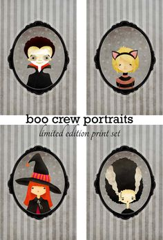Halloween Character Prints. Too cute!