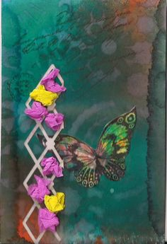 butterfliecrafter: butterflies and flowersdylusions sppray inks and a butterfly