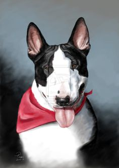 CG #Bullterrier #Portrait by bubumo on @deviantART #English #Bull #Terrier #Dog #Terriers #Creative #Dogs  #DogArt #Painting