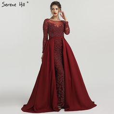 5f0c5c3c93 Muslim Mermaid Long Sleeves Sparkly Evening Dresses With Train Beading  Crystal Luxury Evening Gown 2019 Real