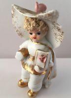 Vintage Lefton Nursery Rhyme figurine #1052 Gold trim holding book & bread