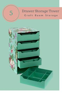 Anna Griffin Craft Room 5-Drawer Storage Tower - Keep your stamps, stickers and tiny embellishments organized in style with this beautiful storage tower. Each of the 5 drawers has 4 dividers so you can organize different sizes and shapes in one convenient space | Craft Organizer | Craft Organization | Craft Supplies Storage | Craft Storage | Craft Drawer #Ad