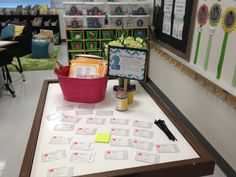Ready or Not...Meet the Teacher! LOVE this idea of station signs for each activity on Back to School Night! Plus printable tags for treat and refreshments! 5th Grade Classroom, New Classroom, Classroom Ideas, Classroom Design, School Organization, Organizing, Backpack Tags, Classroom Setting, Beginning Of School