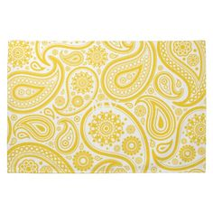 Yellow Floral Paisley Pattern Towels