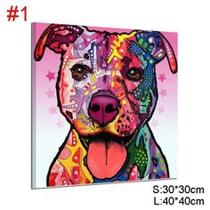 Dreamfactory Modern Art Dog Oil Painting On Canvas Handmade Abstract Animal Paintings For Wall