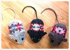 THREE FAIR ISLE MICE--see how they knit up with this free pattern from Janet at yellowpinkandsparkly