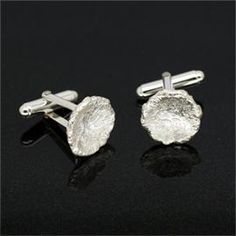 image of: Reticulated Silver Disc Cufflinks
