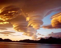 beautiful cloud spirals over South Georgia Island