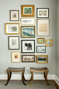 This wall grouping looks as if it was started from the inside out - equal spacing between pieces. Really nice!