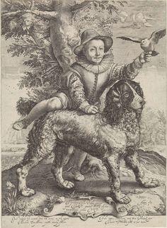 Anonymous | Portret van Frederik de Vries, Anonymous, Hendrick Goltzius, Petrus Scriverius, 1631 | Portret van Frederik de Vries met de hond van Hendrick Goltzius. Hij was een zoon van de schilder Dirck de Vries, die een leerling was van Hendrick Goltzius. Frederik maakt aanstalten om op de rug van de hond te gaan zitten en houdt een duif in de hand. Op het cartouche een opdracht in het Latijn. Het onderschrift in het Latijn spreekt over de eenvoud van het kind en de trouw van de hond.
