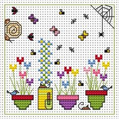 Sidney Snail & Flower Pots Card cross stitch kit