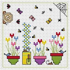 Sidney Snail & Flower Pots Card cross stitch kit